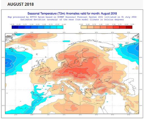 Predpokladaná teplota augusta, odchýlky