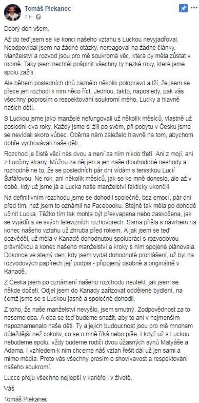 Tomáš Plekanec facebook