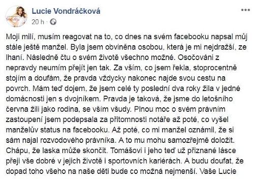 Lucie Vondráčková vyjadrenie k