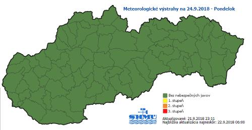 Meteorologické výstrahy na pondelok