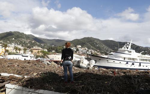 Búrka v meste Rapallo