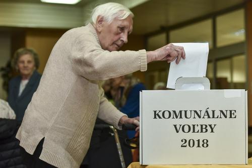 Staršia volička počas hlasovania