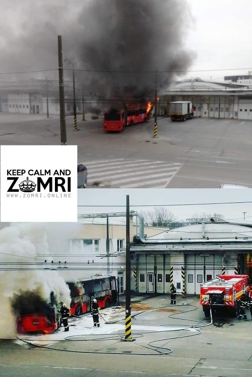 Autobus MHD zachvátil požiar.