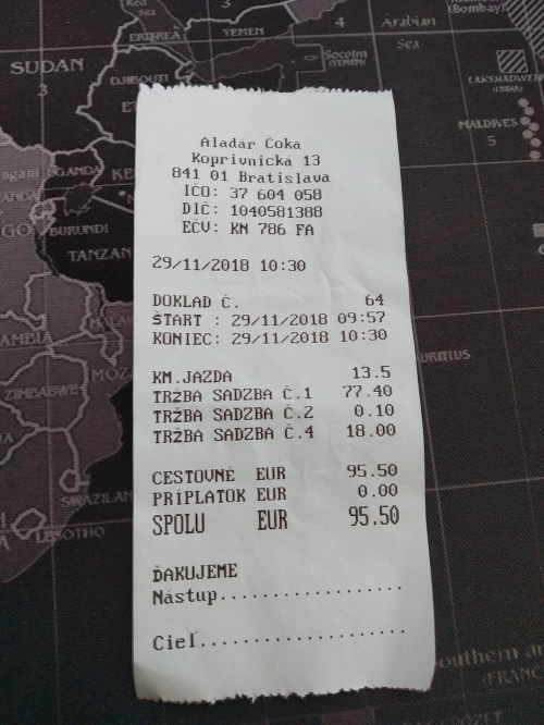 Účet za taxík z
