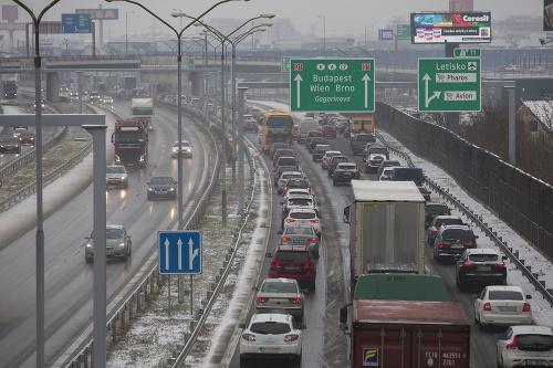 Husté sneženie v Bratislave