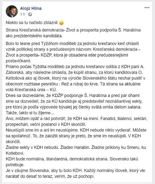 Šéf KDH Hlina sa