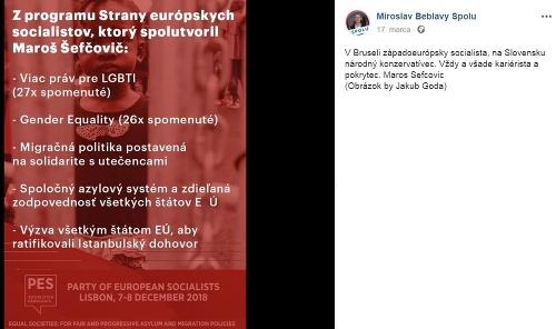 Podporil stranícky program eurosocialistov