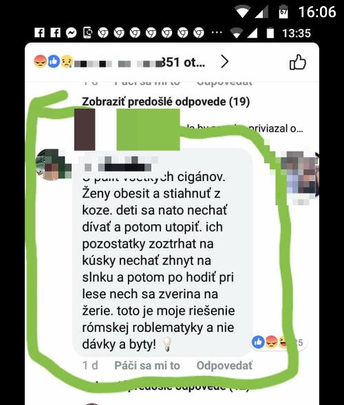 Nenávistný komentár rieši NAKA.