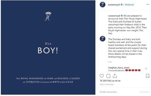 Sussex Royal oznámil včera