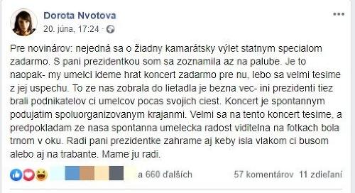 Zuzana Čaputová cestovala na
