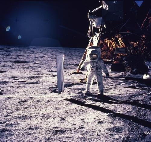 Aldrin počas pobytu na