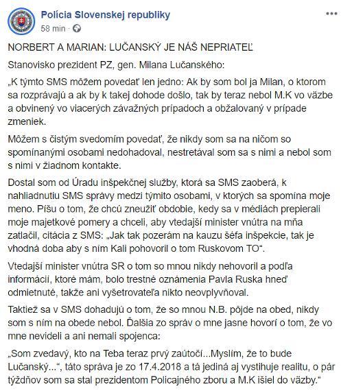 Stanovisko Milana Lučanského k