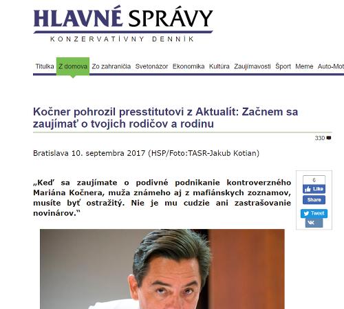 Hlavné správy nazvali Kuciaka