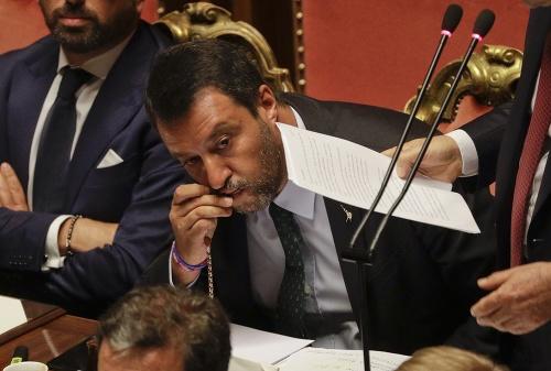 Salvini počas premiérovho prejavu