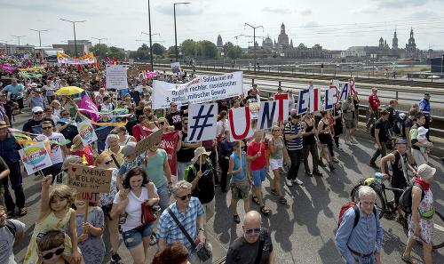Protest v Drážďanoch