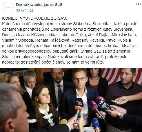 Demokratické jadro opúšťa SaS: