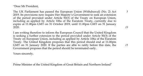 Johnson poslal nepodpísanú žiadosť