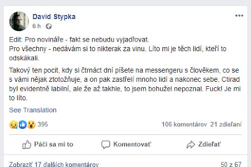 David Stypka priznal, že