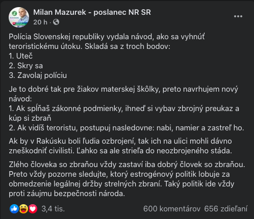 Milan Mazurek vyzýva ľudí,
