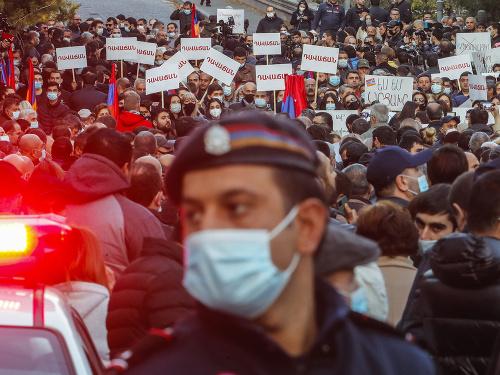 Protesty v uliciach Jerevanu