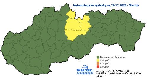 Počasie na Slovensku včera