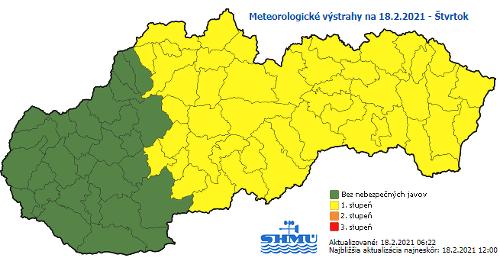 Meteorologické výstrahy na štvrtok