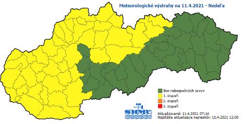 Meteorologické výstrahy na nedeľu