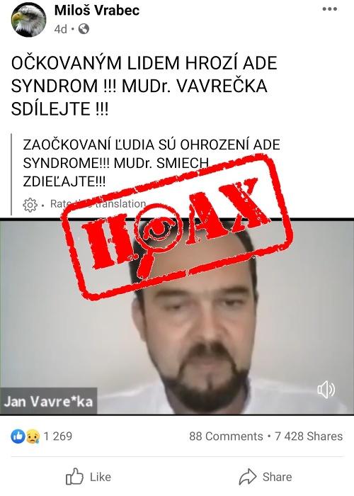 POZOR, lekár šíri HOAX