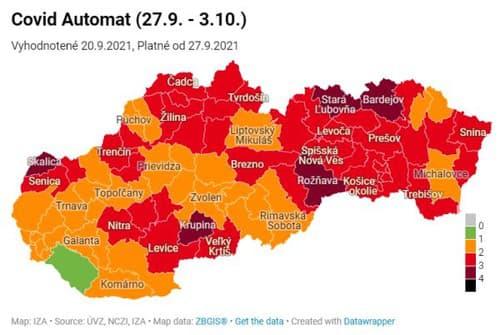 KORONAVÍRUS Nové rozdelenie okresov:
