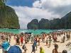 Preplnená pláž Maya