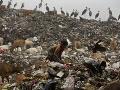 Žena hľada recyklovateľný odpad