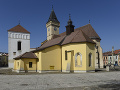 Historické centrum Sabinova. Vľavo