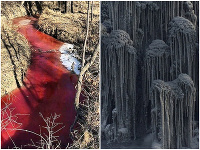 Apokalyptický pohľad: Sibír trápi krvavá rieka a čierny sneh