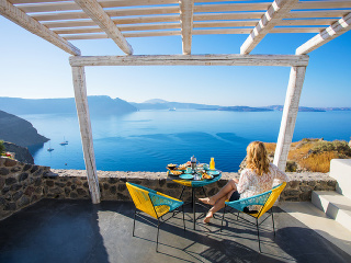 Výhľad z gréckej reštaurácie