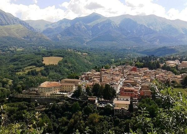 Letecký pohľad na Amatrice