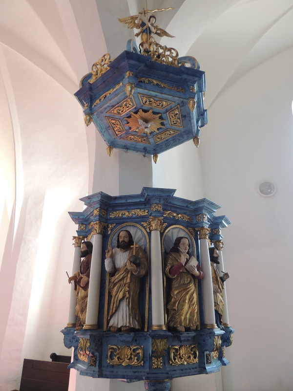 Baroková kazateľnica v Kostole