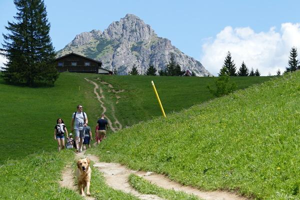 Turisti počas prechádzky po