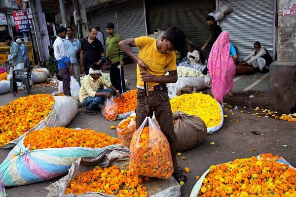 Pouličný predavač kvetín váži