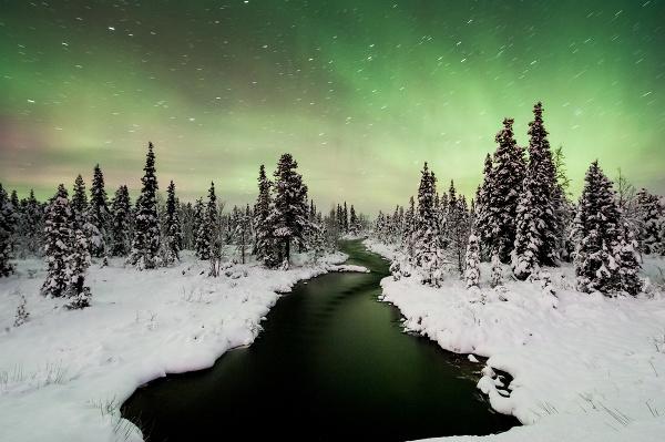 Polárna žiara v Laponsku