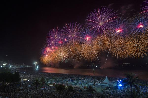 Ohňostroj na Copacabane