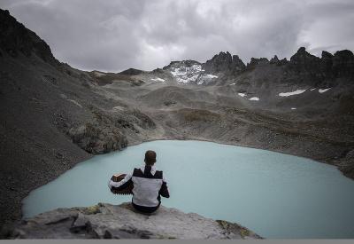 Smútok z rozpusteného ľadovca Pizol vo Švajčiarsku