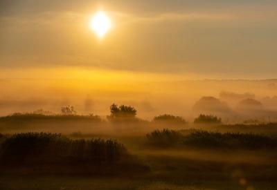 Slnko sa prediera hmlou