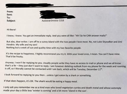 Som na dovolenke, neotravujte: Muž napísal kolegovi počas jeho voľna, dostal skvelú zamietavú odpoveď