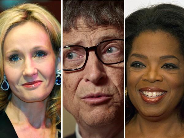 J. K. Rowling, Bill Gates, Oprah Winfrey (zľava)