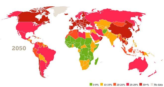 Mapa populácie jednotlivých krajín