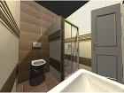 Vizualizácia menšej kúpeľne s