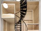 čierne oceľové točité schodisko