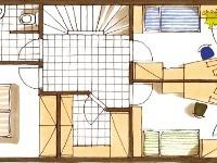 Pôdorys poschodia. Členenie interiéru