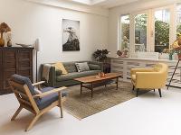 Obývačka v retro štýle.