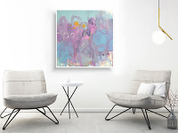 Ručne maľovaný abstraktný obraz,